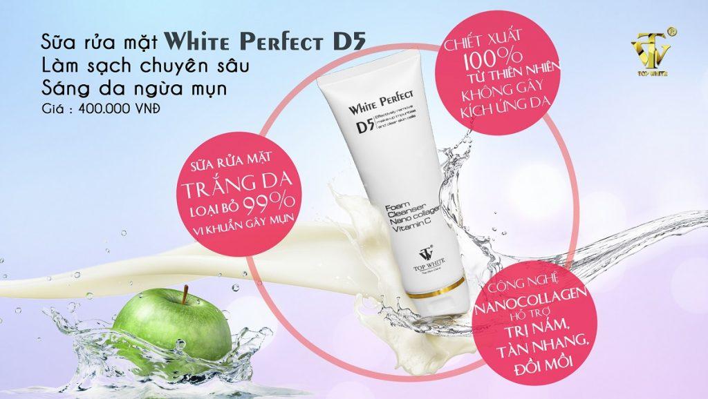 Công dụng Top White D5 sữa rửa mặt làm sạch chuyên sâu