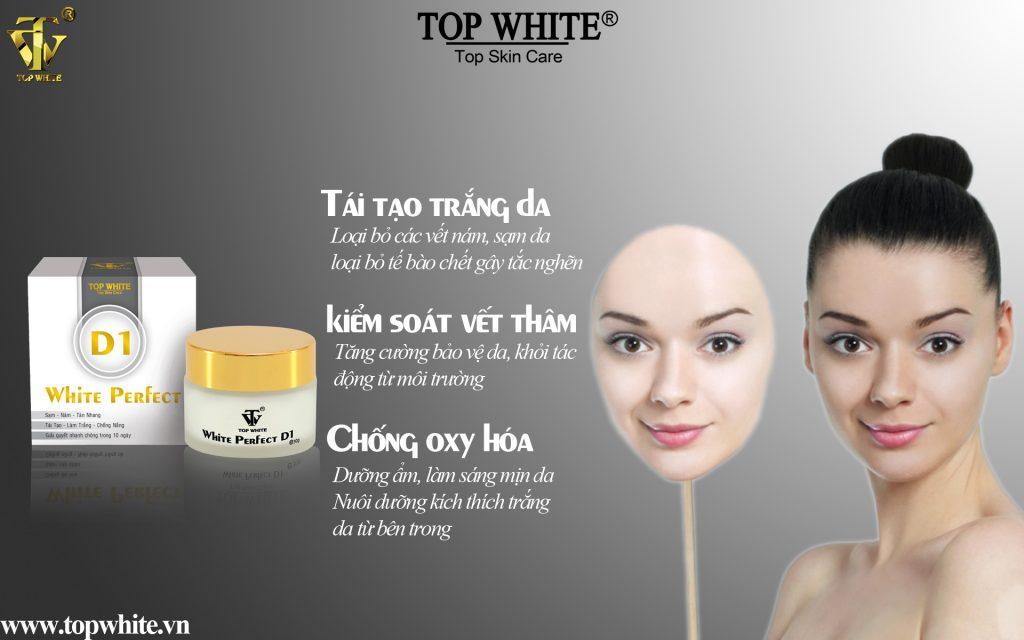 Top White D1- Kem trị nám, trắng da