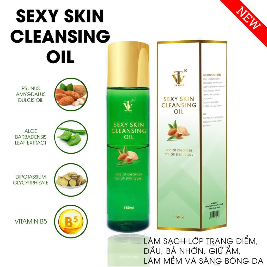 dầu tẩy trang top white sexy skin cleansing oil loại bỏ bụi bẩn