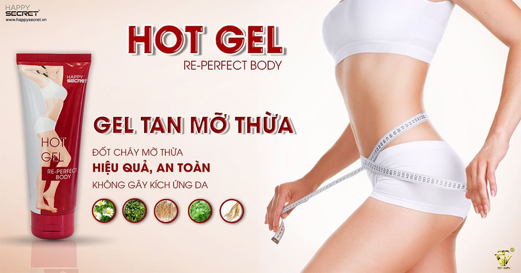gel tan mỡ bụng hot gel top white re-perfect